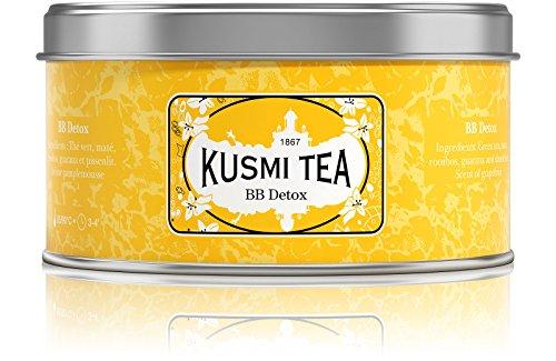 Kusmi Tea -Thé BB Detox - Mélange de Thé Vert, Thé Maté et Plantes Aromatisé Pamplemousse - À Déguster Chaud ou en Thé Glacé - Parfums Finement Acidulés - Boite Thé Métal 125 g - Environ 50 Tasses