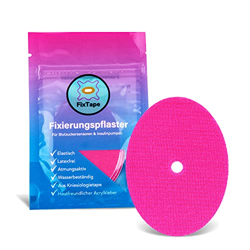FixTape atmungsaktives Sensor-Tape für Freestyle Libre 1 & 2 I selbstklebendes Patch für Glukose-Sensor mit hohem Trage-Komfort I hautfreundlich und wasserfest in modernen Designs I 7 Stück (Pink)