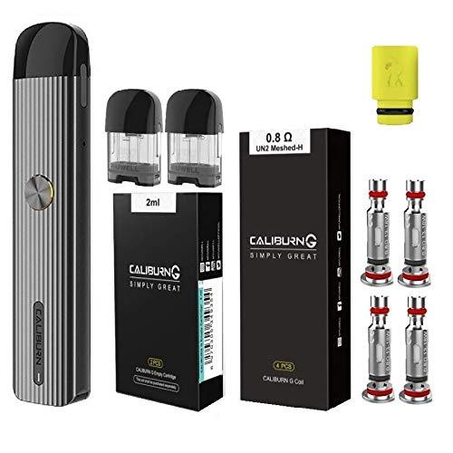 UWELL Caliburn G カリバーンジー ヴェポライザー + 交換用コイル0.8Ω(4pcs)+ 交換用POD(2pcs) + ドリップチップ(1個) オリジナル4点セット 電子タバコ スターターキット 正規品 (Grey)