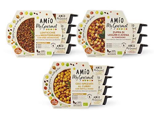 AMIO   My Gourmet   Multipack Piatti Pronti (Lenticchie, Ceci, Zuppa di legumi)   Pronto in 1 minuto in microonde o padella   temperatura ambiente   14 confezioni da 270g