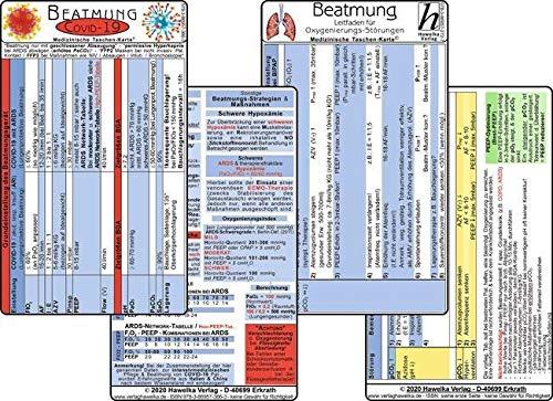 COVID-19 Beatmungs-Karten Set 2020 (2 Karten Set) - Respirator-Einstellungen mit ARDS / respiratorischer Insuffizienz - BGA Zielwerte, PCR-Diagnostik, ... ARDS-Network-Tabelle / SARS-CoV-2