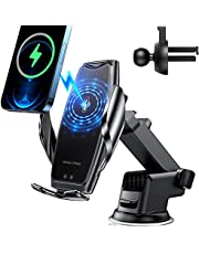 Wireless Car Charger Mount -Auto-Clamping Smart Sensor 10W 7.5W Qi Fast Charging Car Front Windshield Dashboard Air Vent Phone Holder Compatible with All 4.7-6.7 Inch Phones