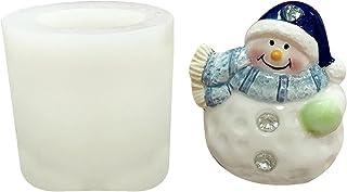 ACAREY Moule en silicone 3D Père Noël DIY Bonhomme de neige Bougies Résine époxy Moules réutilisables pour fondant, savon,...