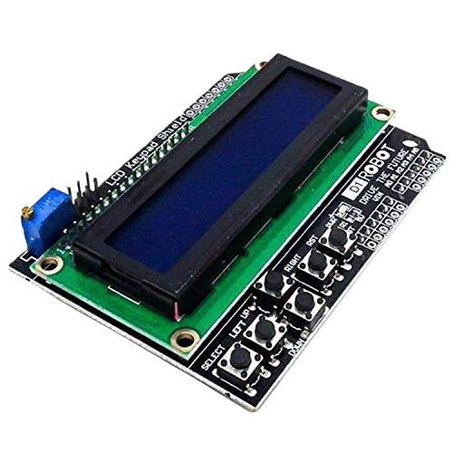 AZDelivery 1602 LCD Keypad Shield HD44780 1602 Modul 2x16 Zeichen kompatibel mit Arduino inklusive E-Book! (mit Blauem Hintergrund und Weißen Zeichen)