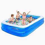 Fenfen Kinder Pool aufblasbare Pool Baby Pool Erwachsenen Badewanne, blau und weiß, 200 * 150 * 53 cm