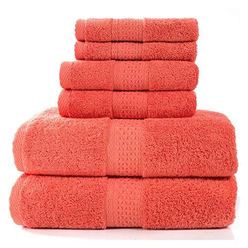 3 unids con Set de Toalla de algodón Toallas de Playa Toalla Suitsquare Toalla Hotel SPA Calidad Altamente Absorbent Bathroom Playa (Color : Chinese Red)