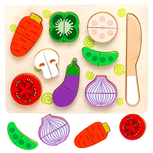 Holz Obst Gemüse Spielzeug Set,Wooden Puzzle for Children,Wooden Montessori Toy,Lernspielzeug Geschenk,Kochen Küche Rollenspiel ,Colourful Animal Puzzle,Holz Obst Gemüse,holz obst gemüse spielzeug
