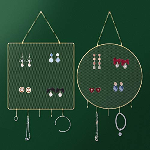 Earring Organizer Wall Mounted, Hanging Earring Holder Wall Jewelry Organizer Set 2 Pack, Jewelry Hanger for Stud Earring, Earring posts, Decorative Metal Diamond Shape with 10pcs Hooks for Necklaces Bracelets (Gold, Small Grid)