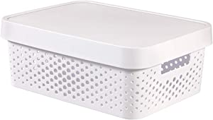 Curver 04753-n23-00Infinity Dots White Plastic Storage Box with lid 27x 36.3x 22.2cm 11litres