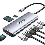 USB C Hub für MacBook, 9-in-1 USB-C HUB Multiport Adapter mit 5 USB 3.1 Gen 1 / 2.0, Thunderbolt 3...