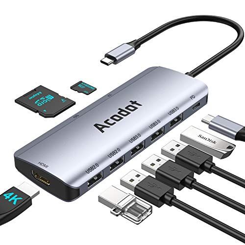 USB C Hub 9 in 1 Multiport USB C HUB Thunderbolt 3 Type C HUB mit 3 USB 31 Gen 1 und 2 USB 20 OTG USB C Hub Adapter PD 100W 4K HDMISDTF Kartenles Kompatibel fur MacBookSurface iPad Laptops