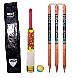 e-YOP Wooden Cricket Kit with Carry Bag (Without Cap & Gloves)