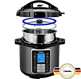 Mueller UltraPot 6Q Pressure Cooker Instant Crock 10 in 1 Pot with German ThermaV Tech, Cook 2 Dishes at Once, BONUS Tempered Glass Lid incl, Saute, Steamer, Slow, Rice, Yogurt, Maker, Sterilizer