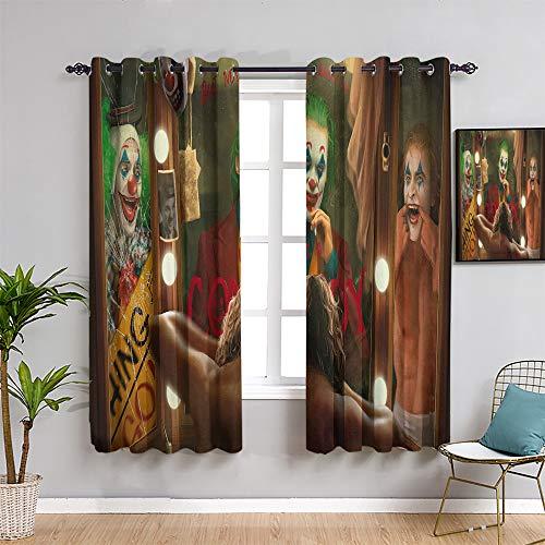 QIAOQIAOLO Joker - Cortinas opacas para ventana, 99 cm de largo, diseño de payaso Joaquín Phoenix 2019, uso repetible, ancho x largo 54 pulgadas