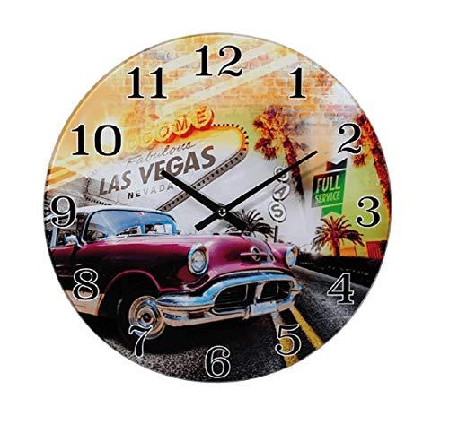 Preis am Stiel Wanduhr ''Las Vegas'' | Vintage | Klein | Design | Retro Uhr | für Wohnzimmer | für die Wand | Geschenkidee | Glas | Auto | Amerika | Urlaub | Dekoration | Schmücken | Küchenuhr