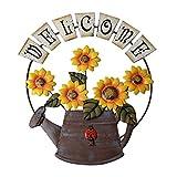 Cozyhoma, cartello di benvenuto in metallo vintage con girasole a tema giardino, cartello ...