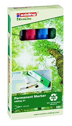 edding 21 Eco Line Permanent Marker - 4er Set  - Wasserfestes Markieren vieler Oberflächen, wie z.B. Leder, Holz, Karton, Glas - Rundspitze