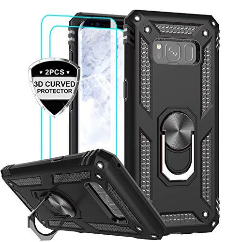 LeYi Funda Samsung Galaxy S8 Armor Carcasa con 360 Anillo iman Soporte Hard PC y Silicona TPU Bumper antigolpes Fundas Carcasas Case para movil Samsung S8 con HD Protector de Pantalla,Negro