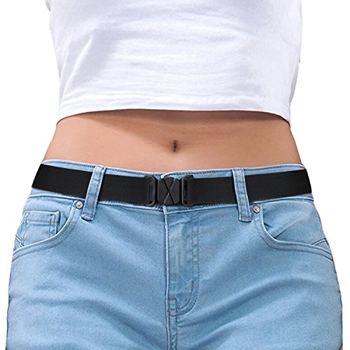 Women Invisible Belt Black Stretch Belts for Women Adjustable With No Show Plastic Buckle