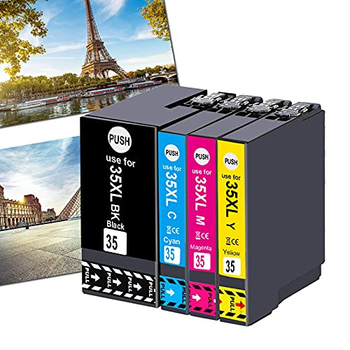OGOUGUAN 35XL - Cartuchos de tinta compatibles con Epson Workforce Pro wf-4720dwf wf-4730dwf wf-4740dwf wf-4725dwf (1 negro, 1 cian, 1 magenta, 1 amarillo)