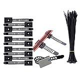 Kabel Clips 100 Stück + Kabelbinder 30 Stück Verstellbare Kabelhalter Set Management,Kabelbinder Kabel Clips von Kabelbefestigung Drahthalter mit Klebstoff Gesicherte Unterlage