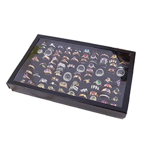 Tonsee Schmuck Ringe Display Tablett samt 100 Slot das Fall Schmuck Aufbewahrungs box (schwarz)