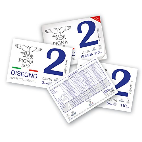 Pigna Pignadue 0220014Or, Album da Disegno, Formato 24 X 33 Cm, Fogli Ruvidi, Grammatura 110Gr/M2, 20 Fogli, Multicolore