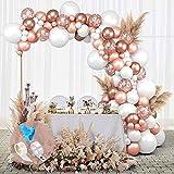 GRESAHOM Kit d'arche de ballons or rose, 145 pièces de confettis or rose avec ballons blancs de 45,7 cm pour fête d'anniversaire, mariage, enterrement de vie de jeune fille, anniversaire de mariage