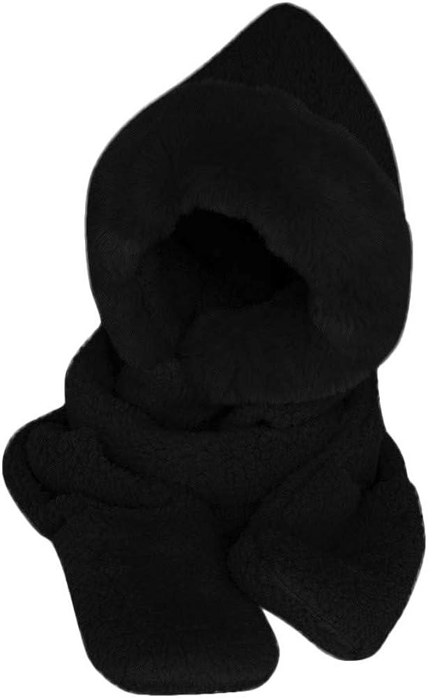 Swyss 3 in 1 Ladies Faux Fur Winter Warm Fluffy Hood Scarf Hat Snood Pocket Gloves