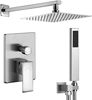 HOMELODY Shower Set, Brushed Nickel Shower System Wall Mounted with High Pressure Rainfall Shower Head, Handheld Shower Head and Shower Faucet Valve, Bathroom Rain Mixer Shower Combo Set
