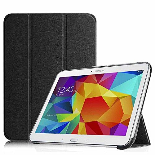 Fintie Hülle kompatibel mit Samsung Galaxy Tab 4 10.1 SM-T530 SM-T535 - Ultra Schlank Superleicht Ständer SlimShell Cover Schutzhülle Etui Tasche mit Auto Schlaf/Wach Funktion, Schwarz