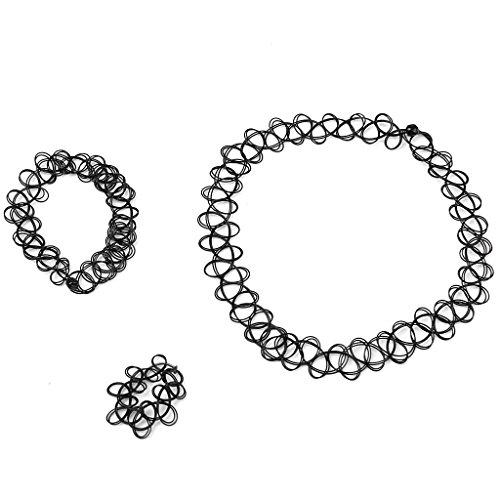 3 Sets Schmuck-Sets Tattoo Choker Elastische Dehnbare Halskette Ring Armband Retro Henna Vintage Boho 80 S 90 S (3 Sets)