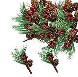 10 pezzi di pini artificiali con pigne rosse e pigne di pino artificiali, decorazioni per bouquet di fiori, decorazioni per artigianato, giardino, decorazioni natalizie e ghirlande