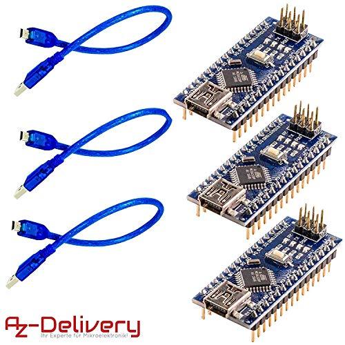 AZDelivery 3 x Nano V3.0 CH340 Chip fertig verlötete, verbesserte Version mit USB Kabel, 100% Nano V3 kompatibel inklusive E-Book!