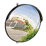 relaxdays 10028416_46 Miroir de Circulation 45 cm, Professionnel, résistant aux intempéries, Solide, intérieur et extérieur, Noir