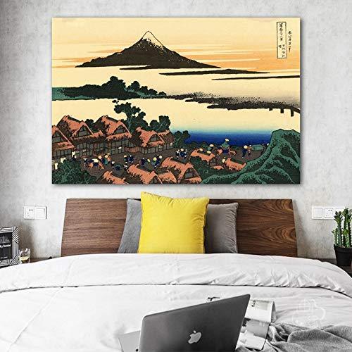 Frameloos zesendertig gezichten op Mount beroemde Japanse schilderij Ukiyo e Master Works reproductie Canvas Print Wall Art foto voor kamer <> 40x60cm