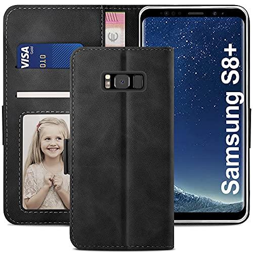 YATWIN Funda Samsung Galaxy S8 Plus, Cuero Premium Flip Folio Carcasa para Samsung S8 Plus, Soporte Plegable, Ranura para Tarjeta, Cierre Magnético, Compatible para Galaxy S8 Plus - Negro