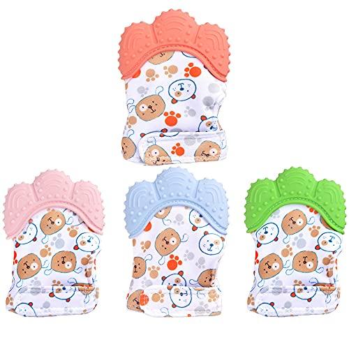 Aloces Baby Teething Mitten Glove, 4 Stück Baby Beißhandschuhe, Knisternder Handschuh für Babys Cartoon Stil, Babys Beißspielzeug Beruhigende Schmerzlinderung Mitt Stimulierende Beißringhandschuhe