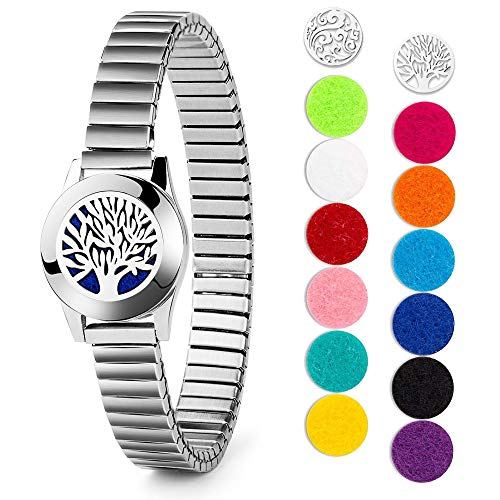 Aromatherapie Armband Lebensbaum Kette Armband Geschenk für Frauen Geburtstag Duftarmband Edelstahl Aroma Diffusor Armband Geschenke Zum Hochzeitstag mit 12 Farbpads