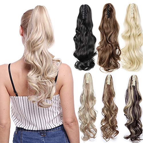 Claw Ponytail Extension Ombre Straight Jaw Ponytails Pony Tail Hairpiece Clip in Hair Extensions Synthetic Fibre for Women 145G Thick Long 21 inch bleach blonde