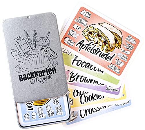 Chroma Products Backrezepte auf 30 Karten: Backen Geschenk mit Abbildungen und Erklärungen in Metalldose, Kartenspiel statt Backen Buch, für Anfänger und Fortgeschrittene