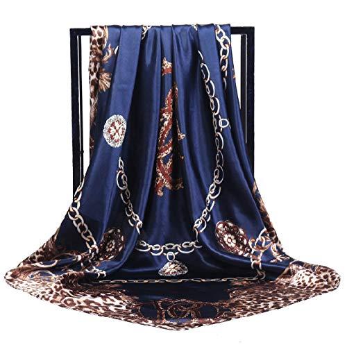 WEJNNI imitatie zijde sjaal 90cm * 90cm vierkante handdoek luipaardketting grote squareladies