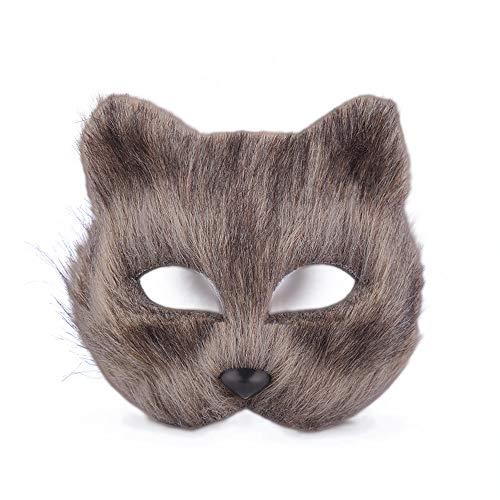 Wenwan Halloween Masquerade Mask Cat Face Half Face Maske(Brown)