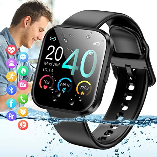 Amokeoo Smart Watch,Bluetooth Smartwatch Touch Screen Sports Activity Tracker Watch with Heart Rate Blood Pressure Monitor IP67 Waterproof Fitness Tracker Watch for Andriod iOS Phones Women Men Kids