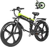 Bici electrica, Electric Mountain Bike 26 pulgadas 1000W 48V 12.8ah plegable Fat Tire nieve E-bici pedaleo asistido Frenos de disco hidráulicos batería de litio bicicleta for adultos ( Color : Green )