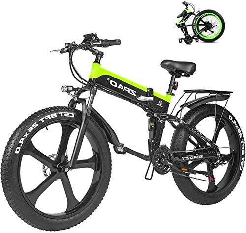 Bicicletas Eléctricas, Electric Mountain Bike 26 Pulgadas 1000W 48V 12.8ah Plegable Fat Tire Nieve E-Bici pedaleo asistido Frenos de Disco hidráulicos batería de Litio Bicicleta for Adultos,Bicicleta