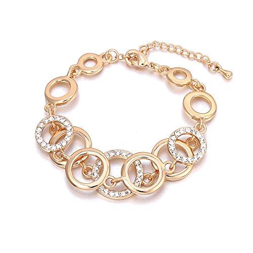 Bracciale per donna, anelli Bracciale a catena per ragazze Bracciale in oro e argento placcato braccialetto Coppie Friends Bracciale rigido con cristallo (Placcato oro)