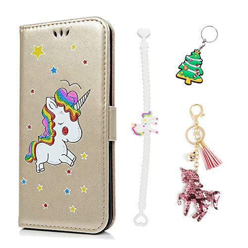 Ancase Lederhülle kompatibel für Samsung Galaxy A3 2016 Hülle Einhorn Muster Handyhülle Schutzhülle mit Kartenfach Leder Tasche, Golden, Weihnachten Unicorn Schlüsselbund