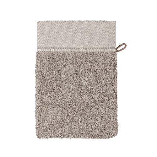 MÖVE Brooklyn Gant de Toilette uni avec une large bordure à chevrons 15 x 20 cm, Fabriqué en Allemagne, 85 % coton / 10 % viscose en pulpe de bambou / 5 % lin, Cashmere (Beige)
