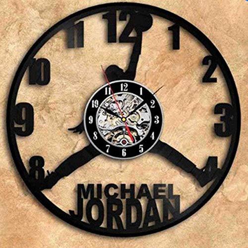 GONGFF Reloj de Pared de Vinilo Reloj de Vinilo de 12 Pulgadas Reloj de Pared Reloj de Pared Ventilador de Baloncesto Decoración de Reloj Retro Creativa